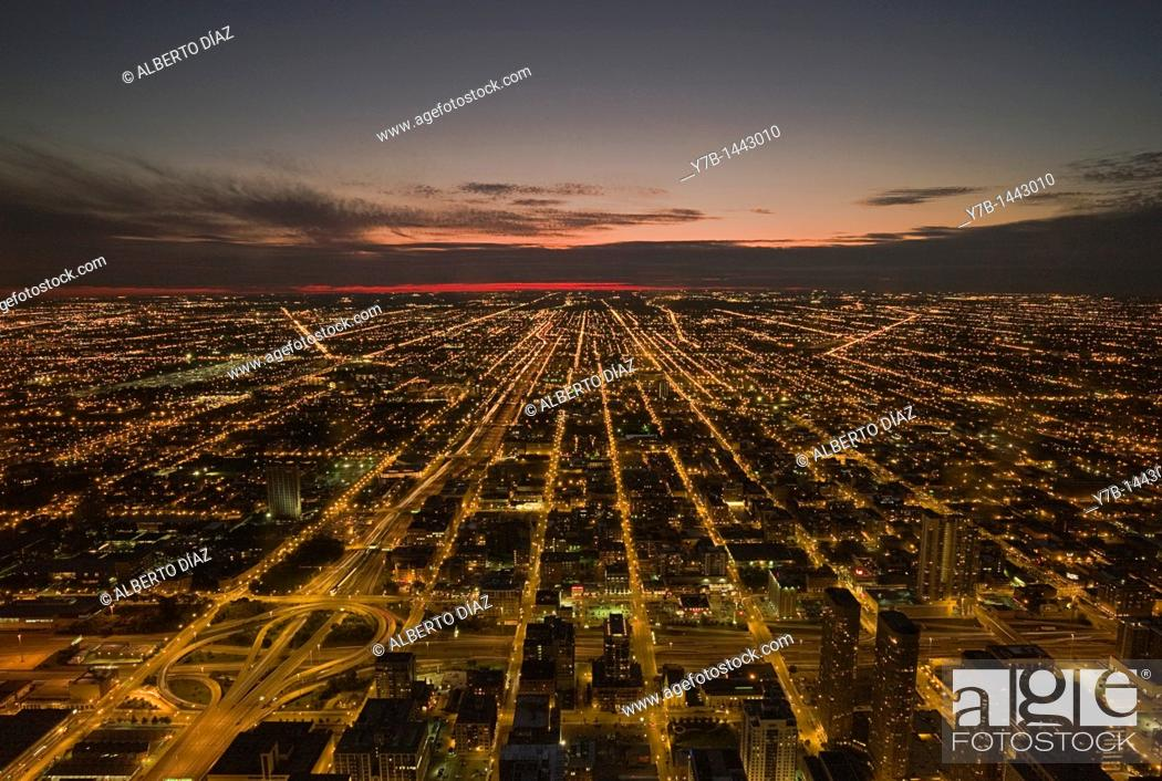 Stock Photo: Overview of the city of Chicago at dusk.