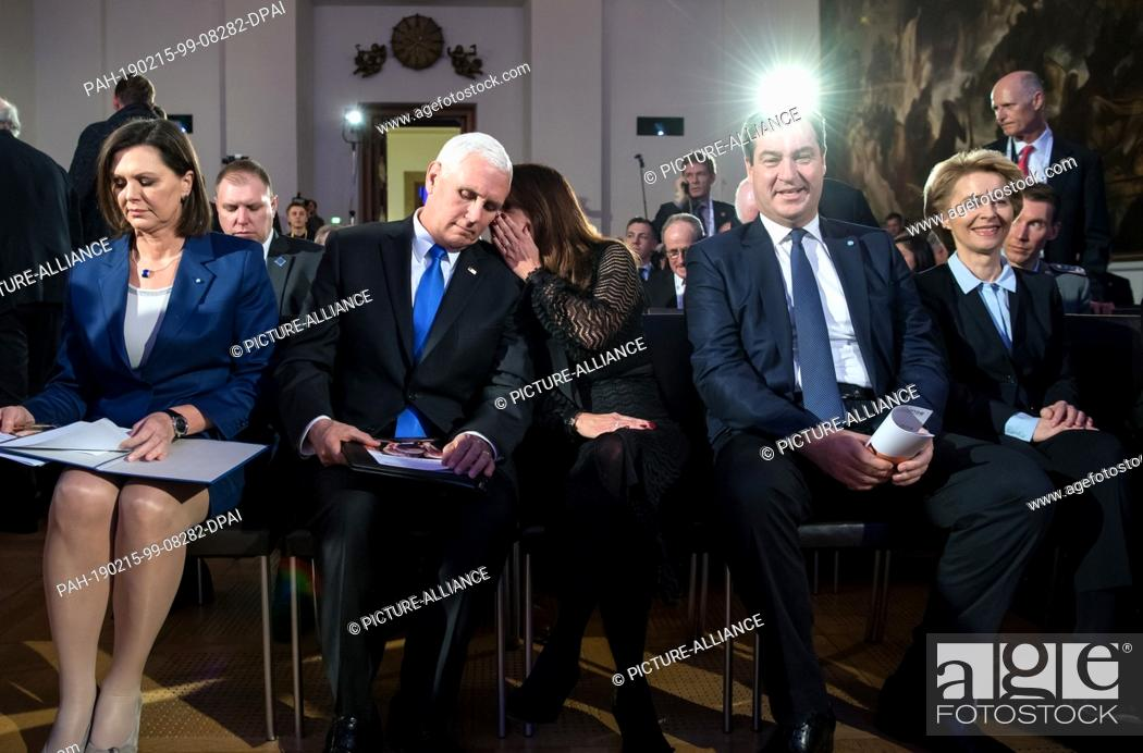 Stock Photo: 15 February 2019, Bavaria, München: Ilse Aigner (l-r, CSU), President of the Bavarian State Parliament, Mike Pence, Vice-President of the USA, his wife Karen.