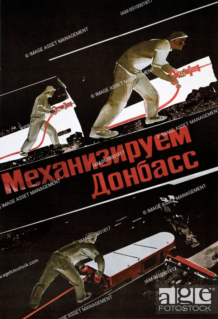 Stock Photo: Russian coal miners working underground using drills and a coal-cutting machine. Poster c1930.