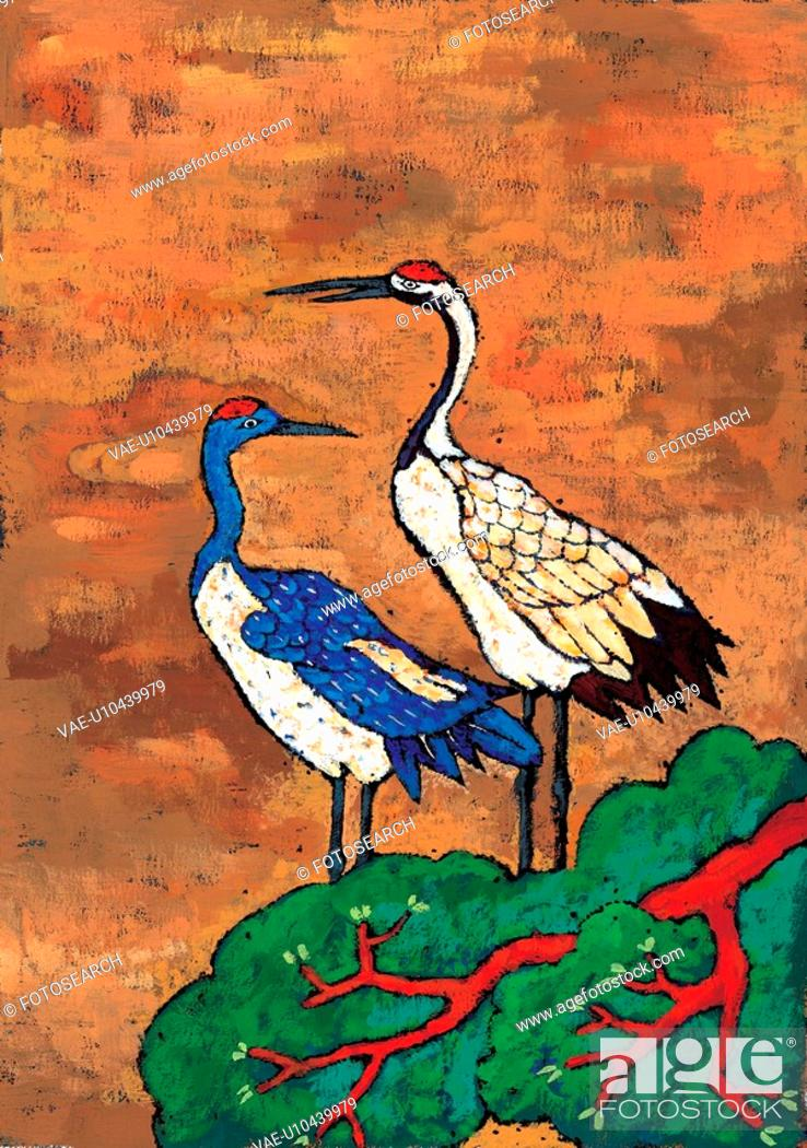 Stock Photo: animal, Orientalpainting, pine, pair, crane, vertebrate, tradition.