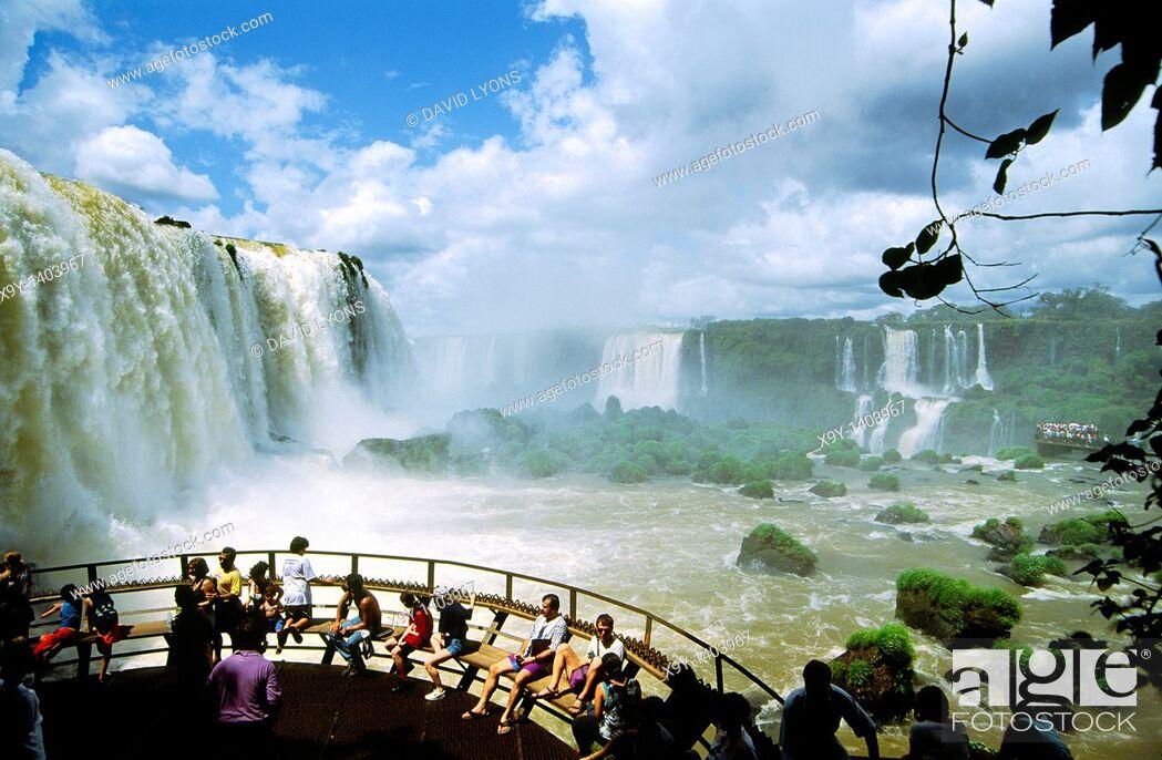 Stock Photo: Iguazu Falls on the Brazil Argentina Paraguay border South America.