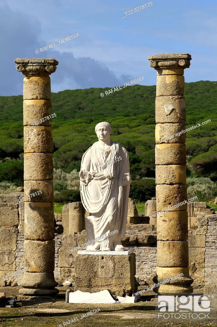 Stock Photo: Rate (Spain). Sculpture of Trajan in the Roman city of Baelo Claudia.
