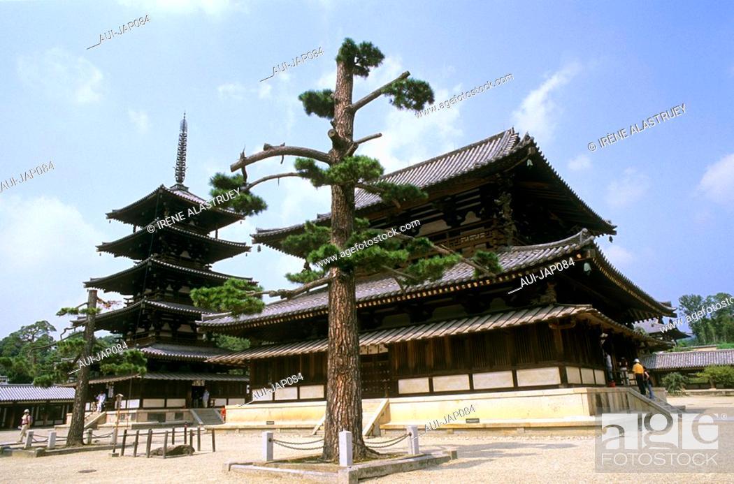 Stock Photo: Japan - The west of Honshu - Nara - Horyu ji Temple.