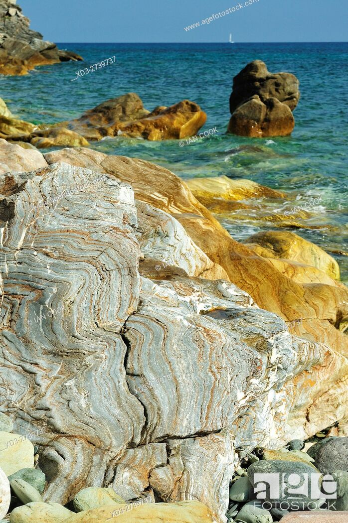 Stock Photo: beach at Marine de Sisco, near Bastia, Corsica, France.