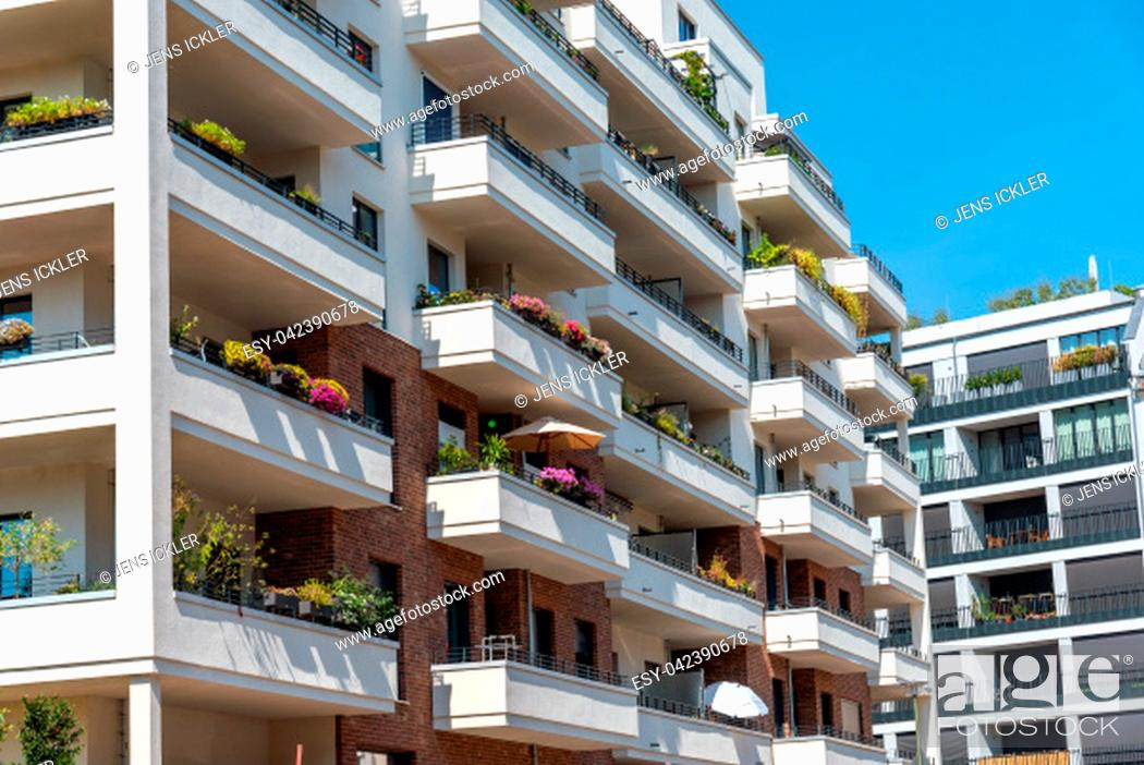Stock Photo: Detail of a white modern apartment house seen in Berlin, Germany.