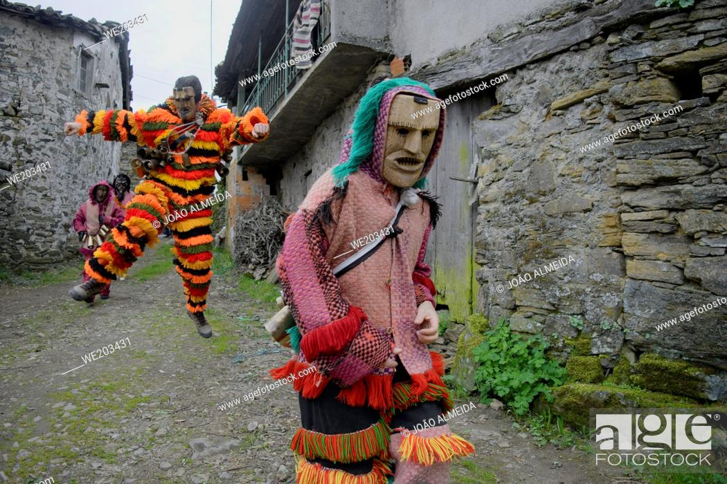 Stock Photo: The Entrudo (or Shrovetide) festivities at Vila Boa (small village in Porgugal's Trás-Os-Montes region), a traditional carnival celebration that dates back to.