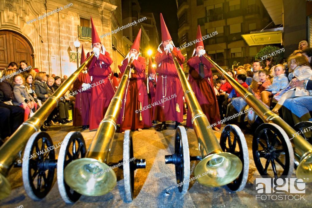 Stock Photo: `Bocinas' Easter Monday procession Cofradia del Santísimo Cristo del Perdón Holy Week  Murcia  Spain.