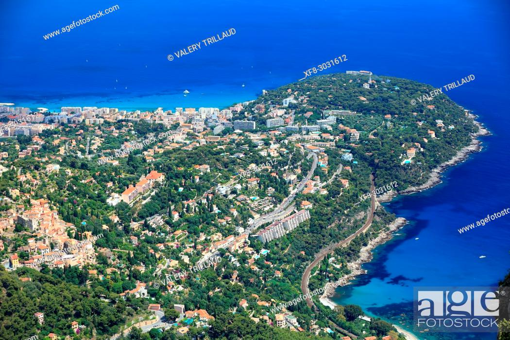Stock Photo: Aerial view. Roquebrune Cap Martin, Alpes-Maritimes, 06, Cote d'Azur, PACA, France.