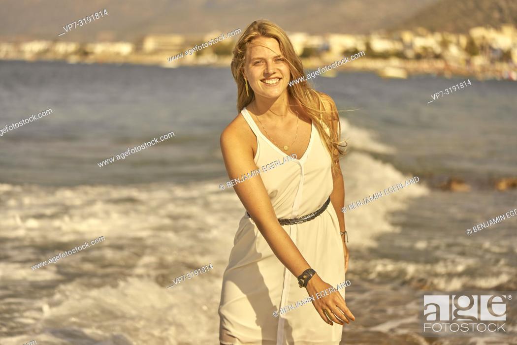 Stock Photo: Woman at beach, Stalida, Crete, Greece.