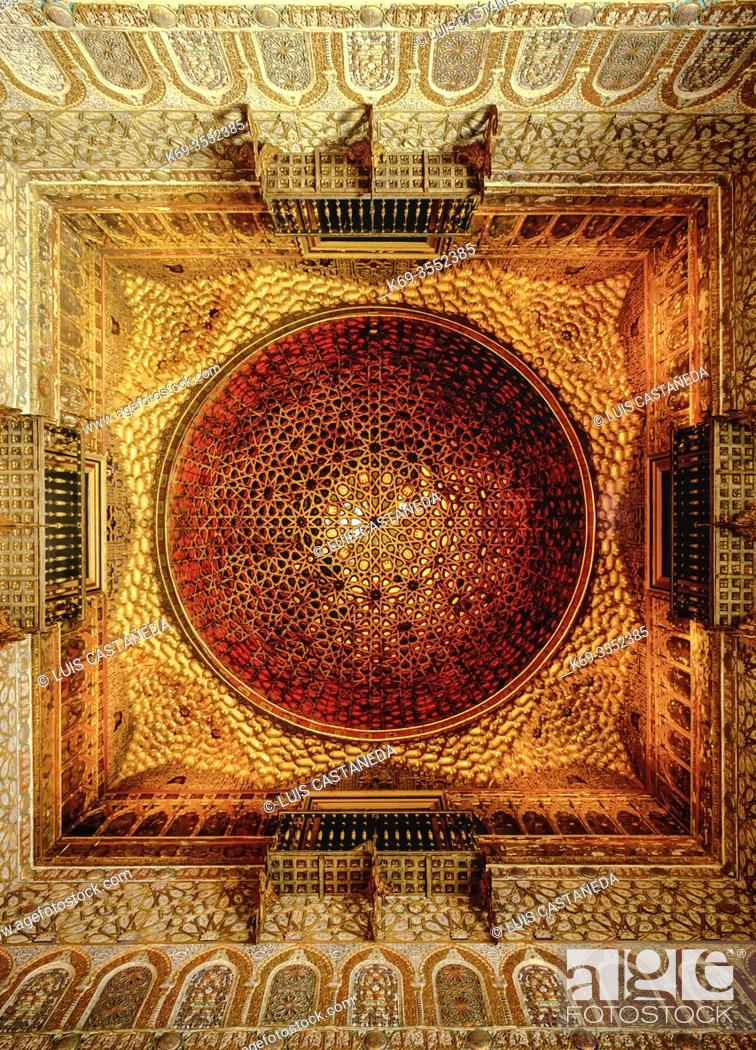 Stock Photo: Detail of the Ceiling. . Alcázar de los Reyes Católicos. . Sevilla. (Andalucía) Spain.