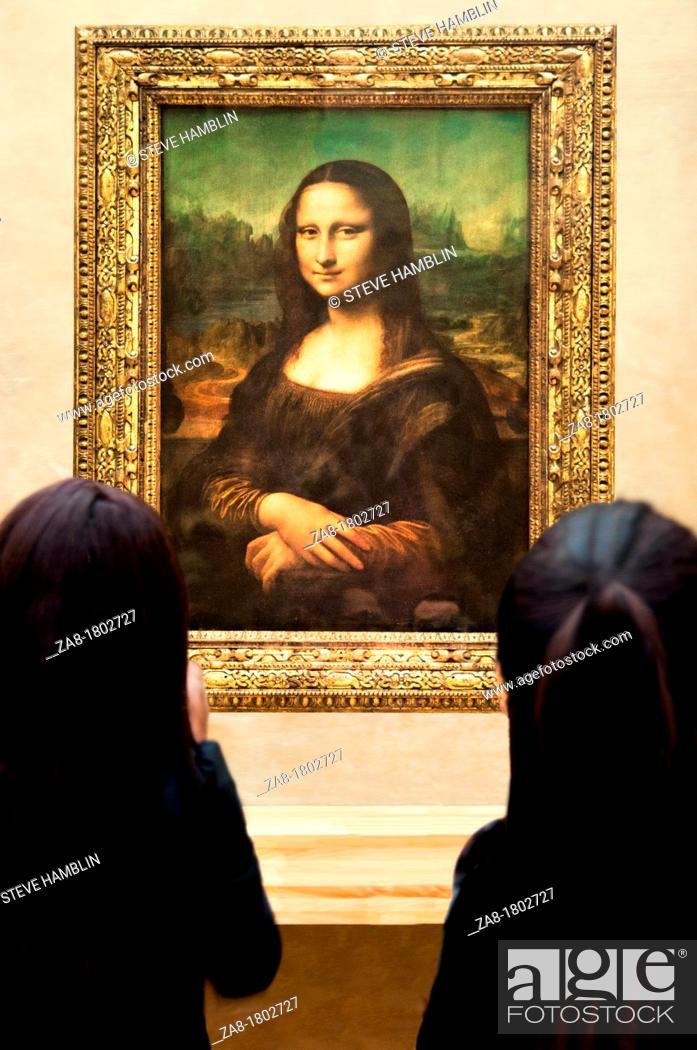 Stock Photo: Mona Lisa portrait, Louvre Museum, Paris, France.