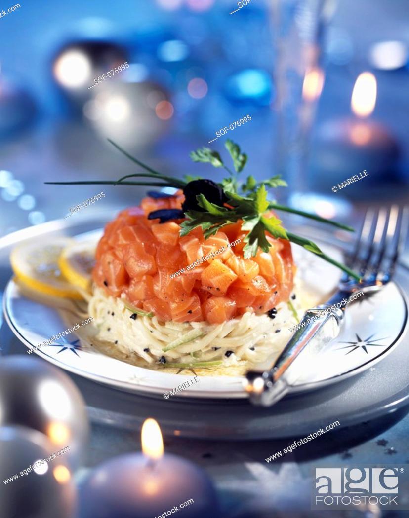 Stock Photo: salmon tartare, apple remoulade with truffle.