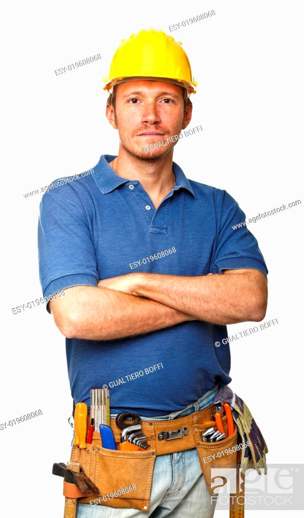Stock Photo: confident manual worker.