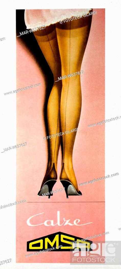disponibile scarpe originali comprare bene PUBBLICITÀ Manifesto pubblicitario per le calze -Omsa-, un paio di ...