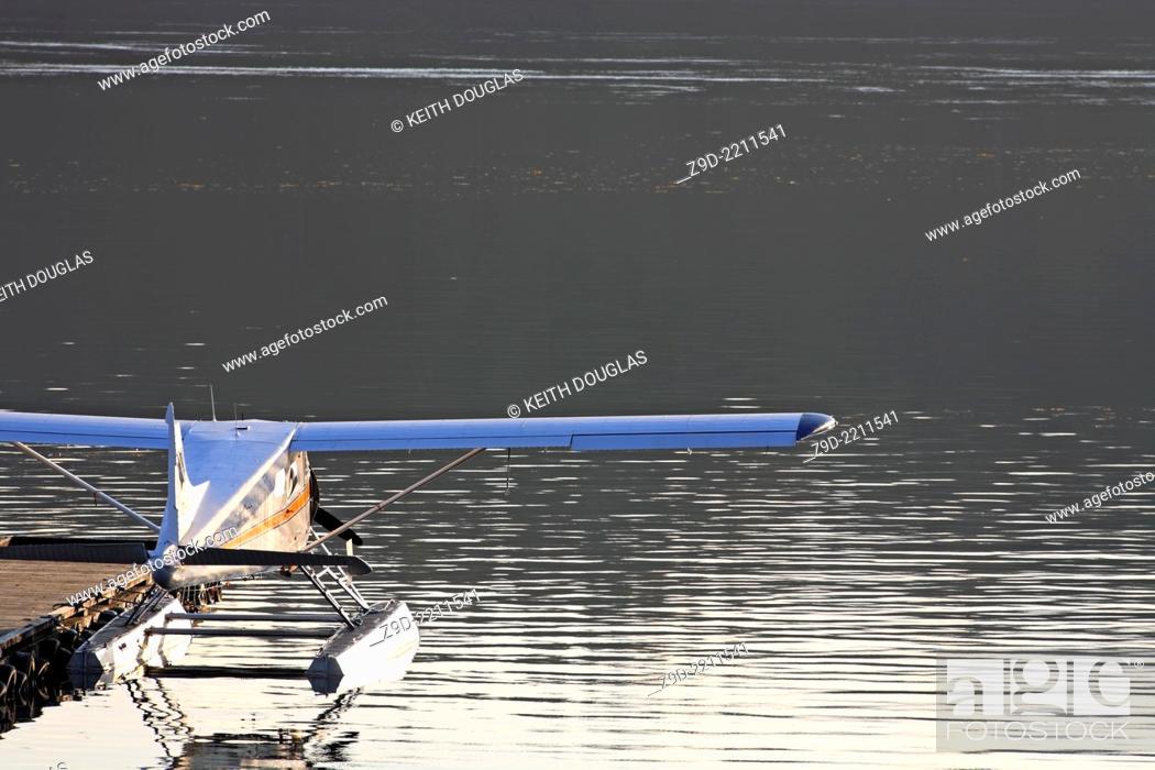Stock Photo: DeHavilland Beaver floatplane tied up at dock, Seal Cove, Prince Rupert, BC.