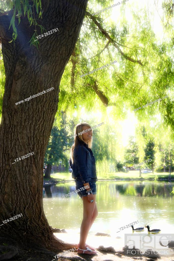 Stock Photo: A young woman outdoors in Spokane, Washington, USA.