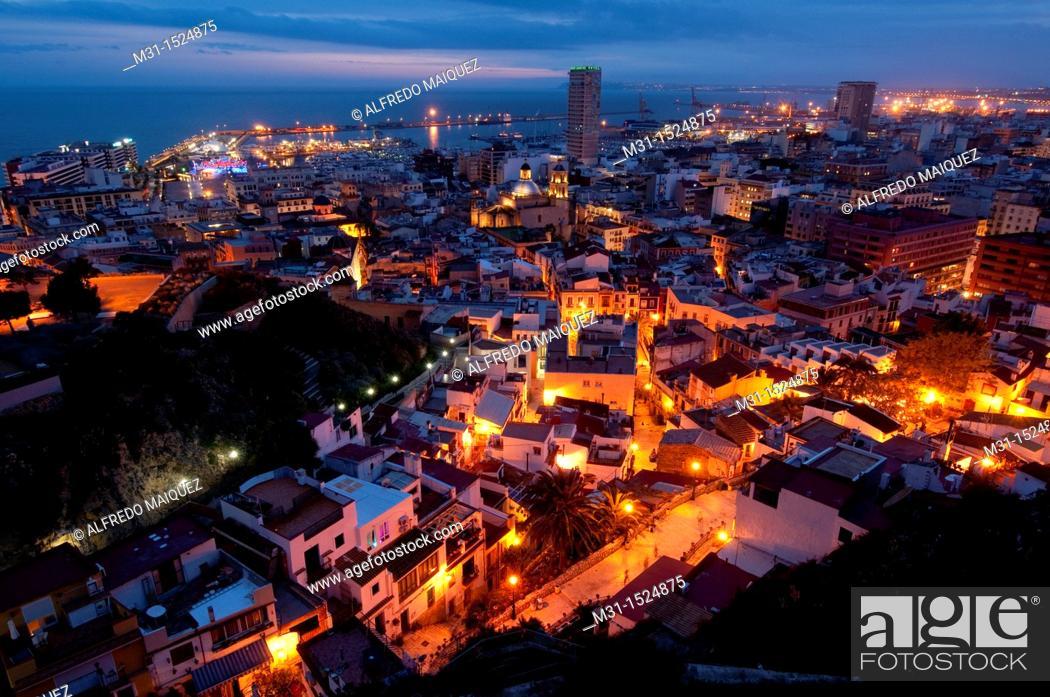 Stock Photo: Night view of the city of Alicante from Santa Barbara Castle  Alicante province, Valencian Community, Spain, Europe.