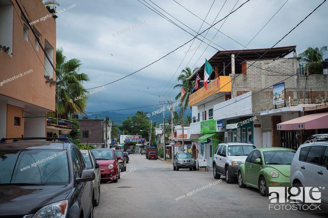 Stock Photo: Calle Lazaro Cardenas in Bucerias, Nayarit, Mexico.