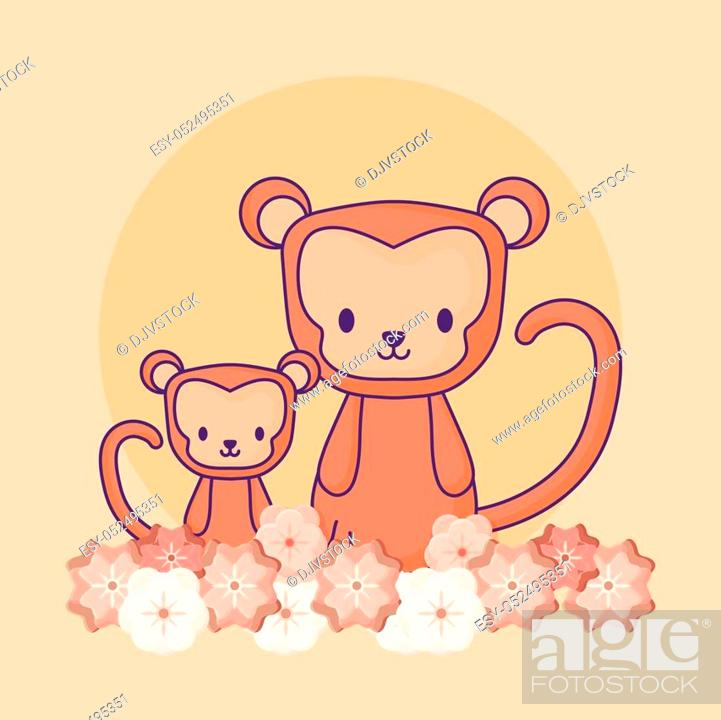 Stock Vector: cute monkeys and beautiful flowers over orange background, colorful design. vector illustration.