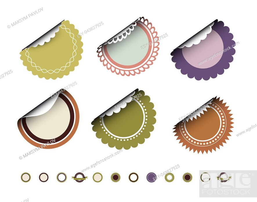 Stock Photo: Collection of round vintage labels with curved edges. Vector set on white background.