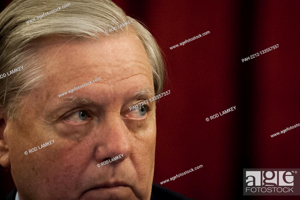 Photo de stock: United States Senator Lindsey Graham (Republican of South Carolina), Chairman, US Senate Judiciary Committee, listens to remarks during the committee markup of.