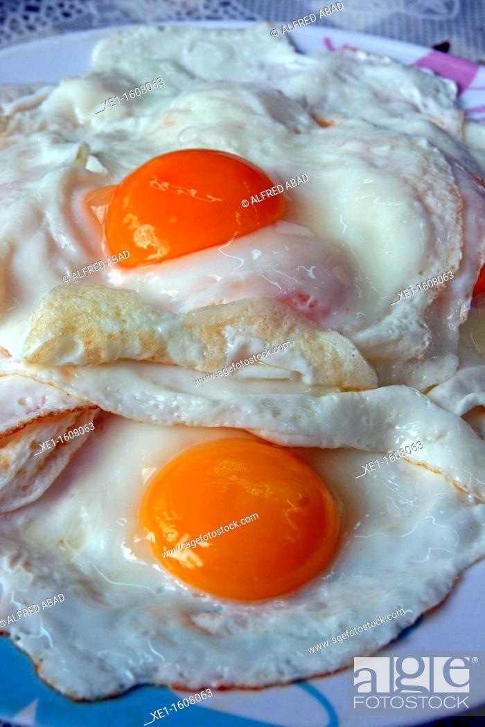 Stock Photo: two fried eggs.
