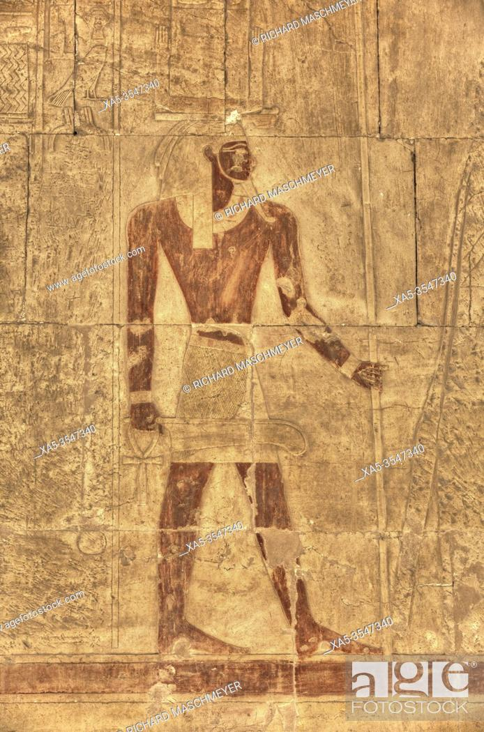 Stock Photo: Reliefs, Chapel of Anubis, Hatshepsut Mortuary Temple (Deir el-Bahri), UNESCO World Heritage Site, Luxor, Egypt.