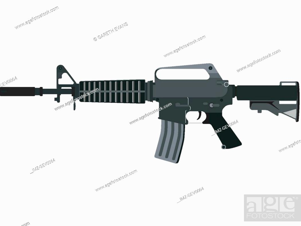 Stock Photo: An illustration of military harware XM-177 assault rifle, also known as the Colt Commando.