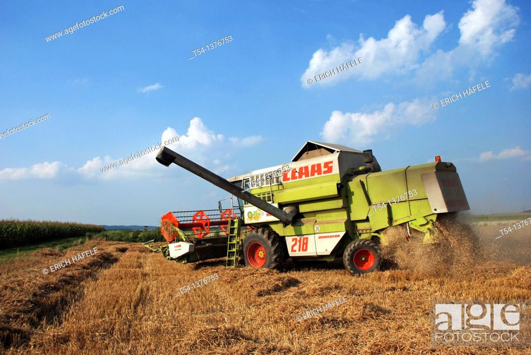 Stock Photo: Combine harvester in a wheat field.