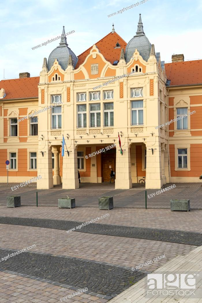 Stock Photo: Old Town Square in Szekszard, Hungary.