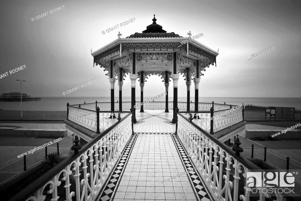 Stock Photo: The Victorian Bandstand recently restored, Brighton, Sussex, England.