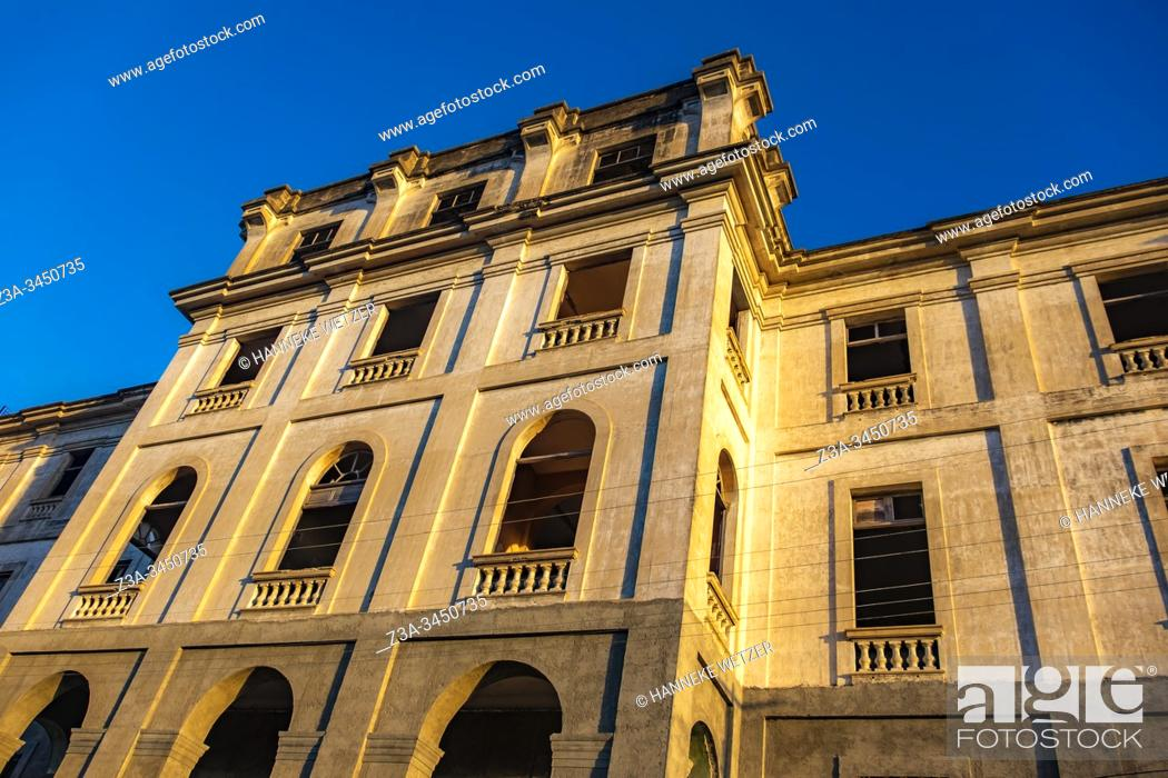 Stock Photo: Old building in Cienfuegos with morning sunlight, Republic of Cuba, Caribbean, Central America.