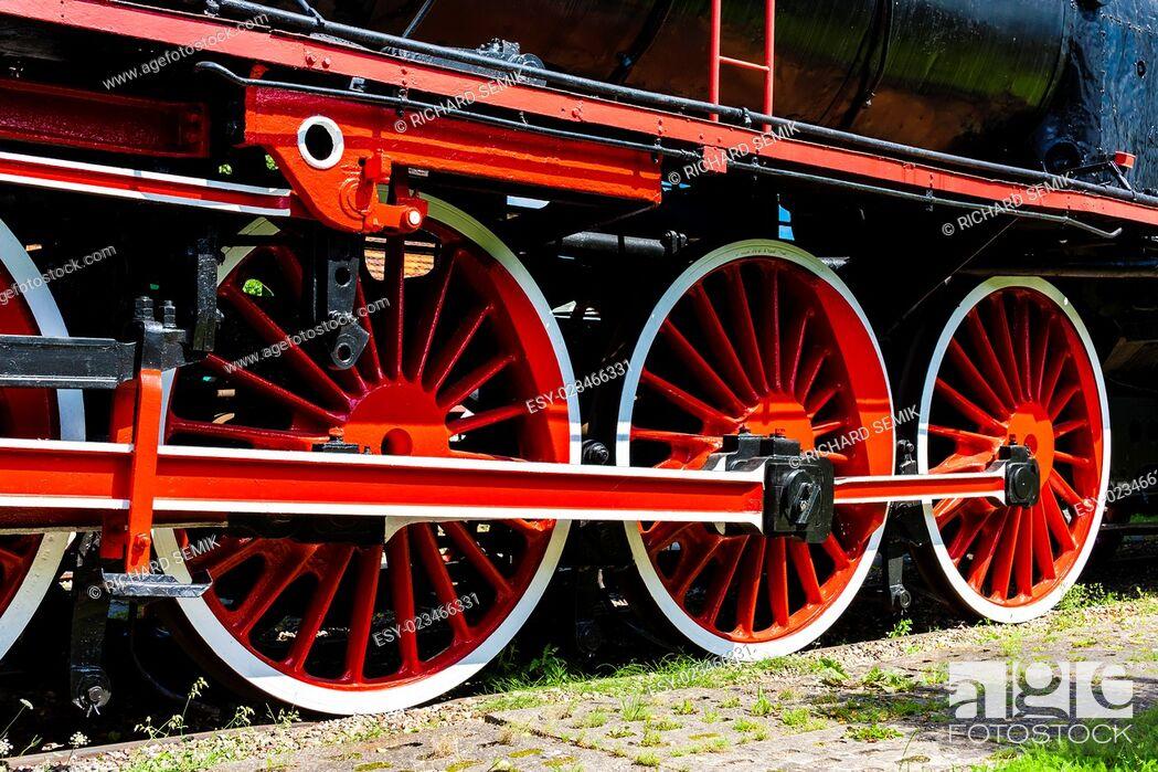Stock Photo: detail of steam locomotive in railway museum, Koscierzyna, Pomerania, Poland.
