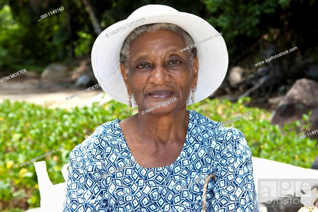 Old Creole Woman Mahe Island Seychelles Indian Ocean
