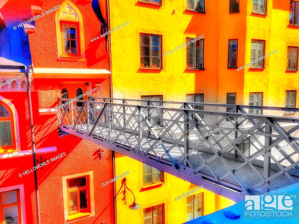 Stock Photo: The Iron bridge across Bastugatan, Sodermalm, Stockholm, Sweden, Scandinavia.