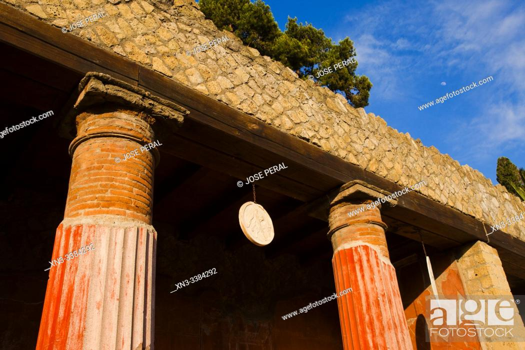 Stock Photo: House of the Relief of Telephus, The excavations of Ercolano, Ruins of Herculaneum, was an ancient Roman town destroyed by volcan Mount Vesuvius, Ercolano.