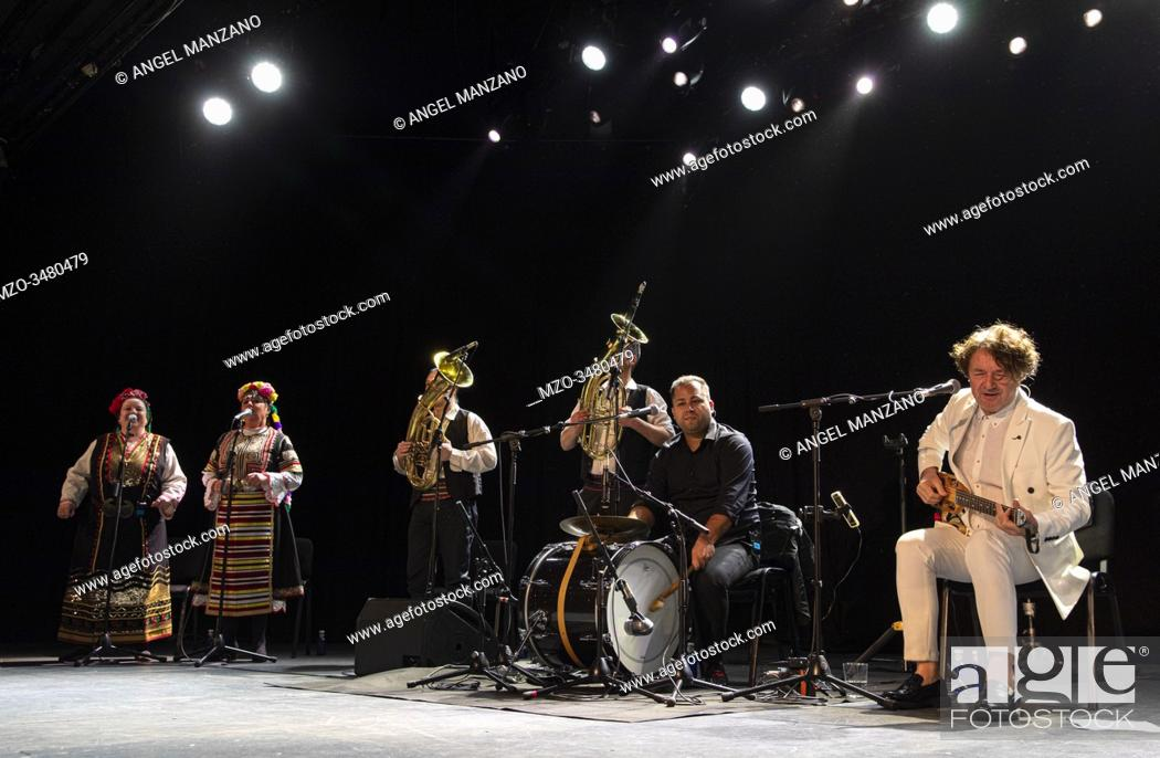 Stock Photo: Madrid, February 28th: Musician and composer Goran Bregovic and his band perform at Sala La Riviera on February 28th, 2020 in Madrid, Spain.