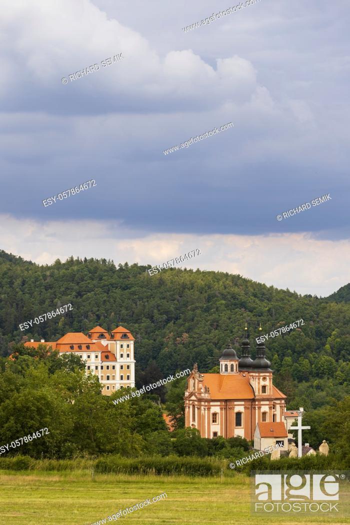 Stock Photo: Castle and church in Valec, Western Bohemia, Czech Republic.
