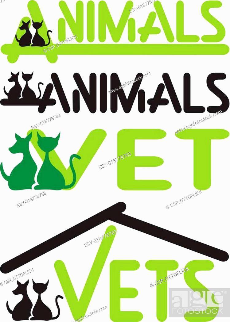 Stock Vector: vet, animals - cat and dog.