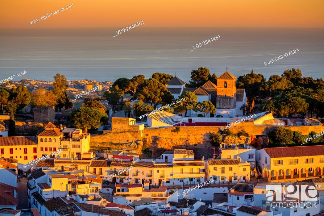 Stock Photo: White village of Mijas at sunset. Malaga province Costa del Sol. Andalusia Southern Spain, Europe.
