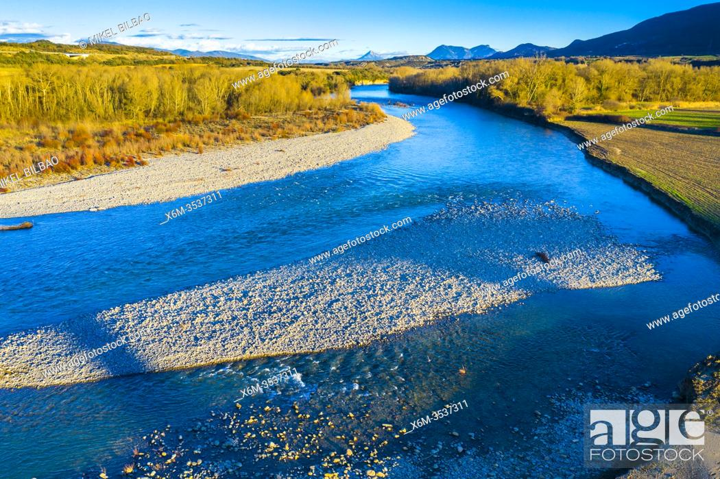 Stock Photo: Riverbed in a natural landscape. Aragon river close to Yesa reservoir. Aerial view. Zaragoza, Aragon, Spain, Europe.