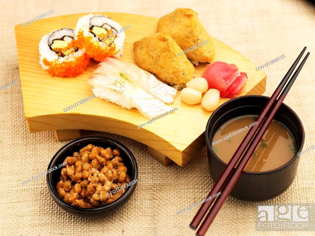 Stock Photo: chopstciks, plate, chopsticks, decoration, food styling, miso soup, sushi plate.