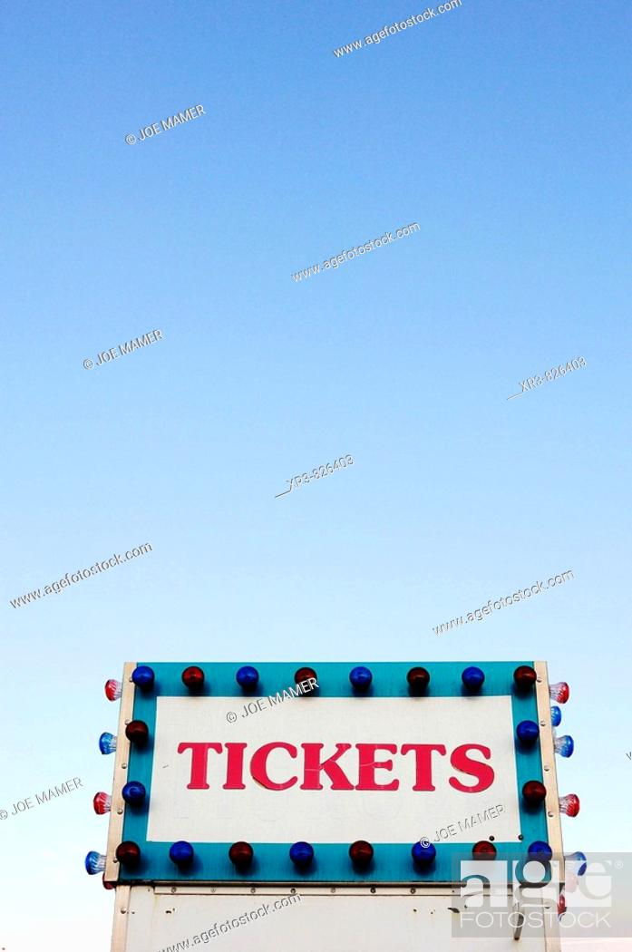 Stock Photo: Ticket booth against blue sky.