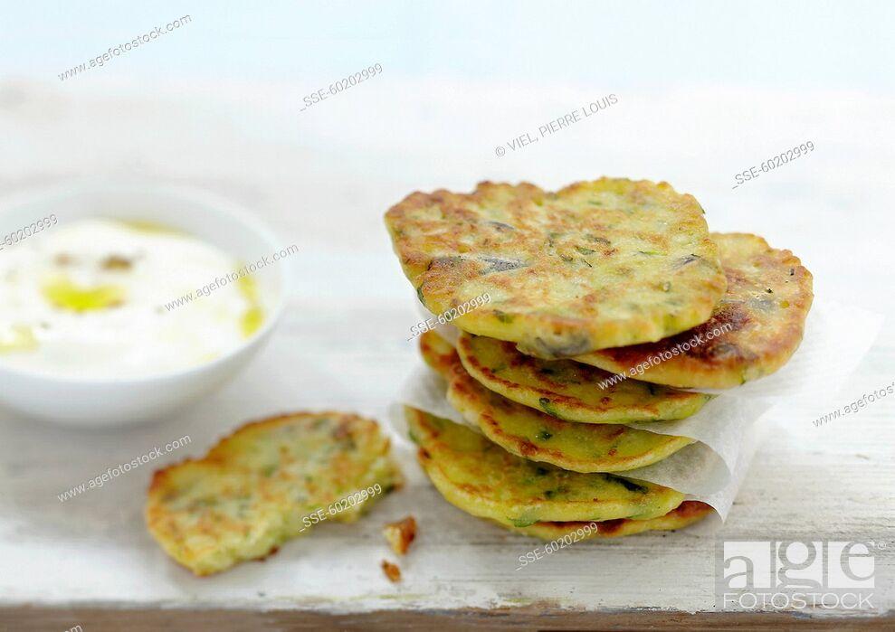Stock Photo: Zucchini blinis.