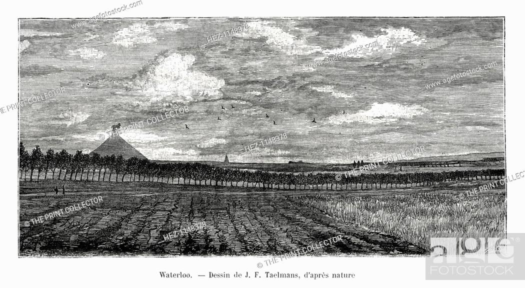 Stock Photo: Waterloo, Belgium, 1886. Site of the famous battle on June 18, 1815 between the French forces commanded by Napoleon and the British led by the Duke of.