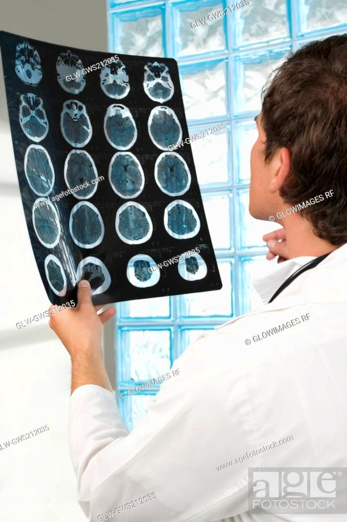 Stock Photo: Male doctor examining an X-Ray report.