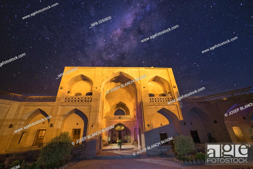 Stock Photo: Clear night in a caravanserai where the Milky Way is observed.