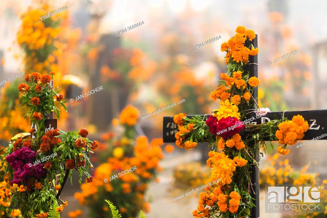 Stock Photo: Grave crosses, decorated with marigold flowers, are seen at a cemetery during the Day of the Dead celebrations in Ayutla, Mexico, 2 November 2019.