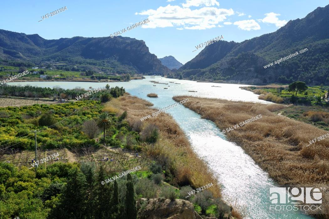 Stock Photo: Panoramica of the river Segura and the reservoir of Ojos, Blanca, Murcia, Spain, Europe.