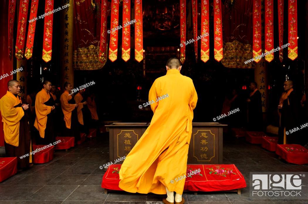 Stock Photo: Buddhist ceremony, Jade Buddha Temple, Putuo District, Shanghai, China, Asia.
